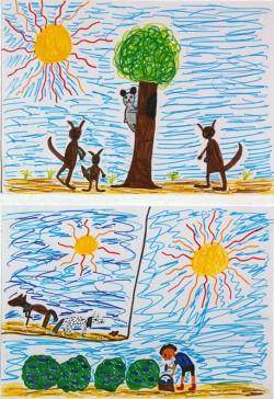 Bild von Helene (9 Jahre). Oben: Australien pur! Unten: Ohrenblicker bei der Auberginenernte. Links: Zwei halbverhungerte Pferde auf dem Bush-Camp Glen Erin.