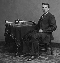 Edison mit Phonograph